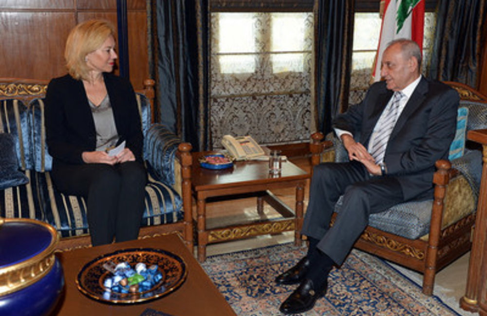 U.N. Special Coordinator Sigrid Kaag with the  Speaker of the House Nabih Berri(10 03 15)