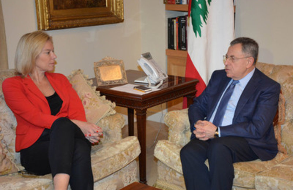Fouad Siniora welcomed at his office the United Nations Special Coordinator for Lebanon Sigrid Kaag (25 04 2015)